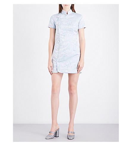 ALEXACHUNG Mandarin collar brocade mini dress (Multi