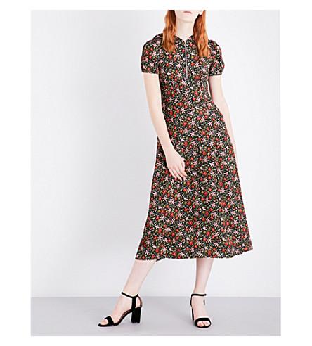 ALEXACHUNG Hooded crepe midi dress (Floral+multi