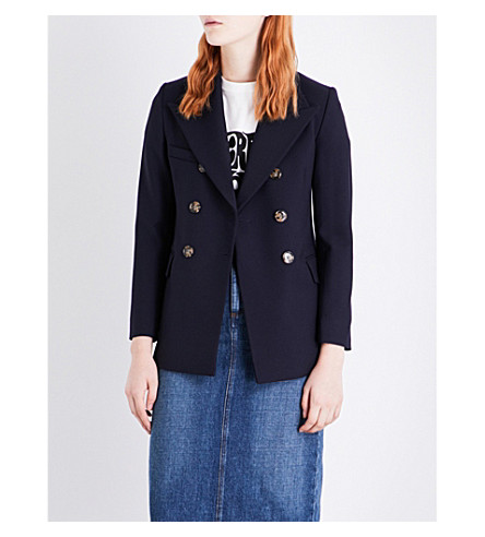 ALEXACHUNG Double-breasted wool jacket (Navy