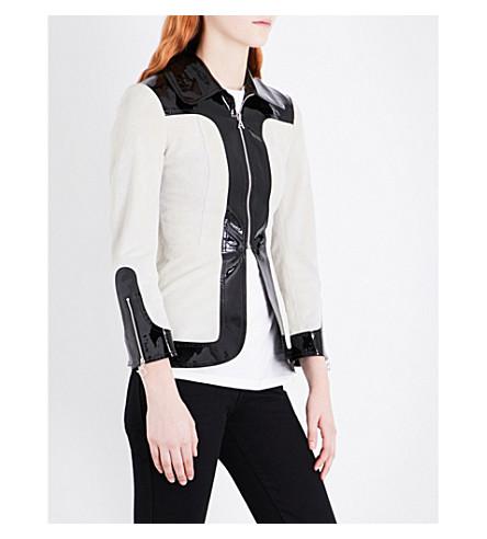 ALEXACHUNG Seamed suede jacket (Cream+black