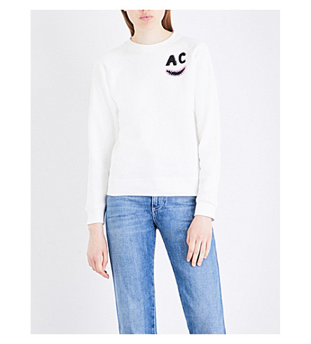 ALEXACHUNG Abstract-print cotton-jersey sweatshirt (Ivory