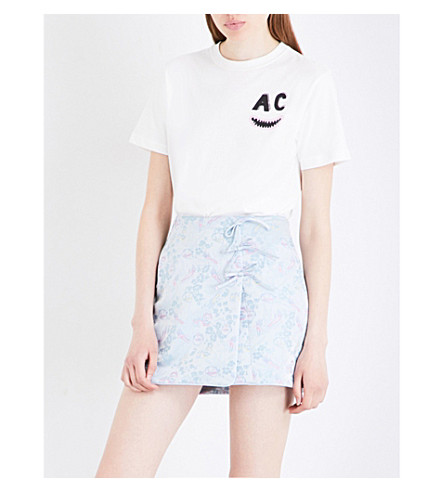 ALEXACHUNG Print-detail cotton-jersey T-shirt (White
