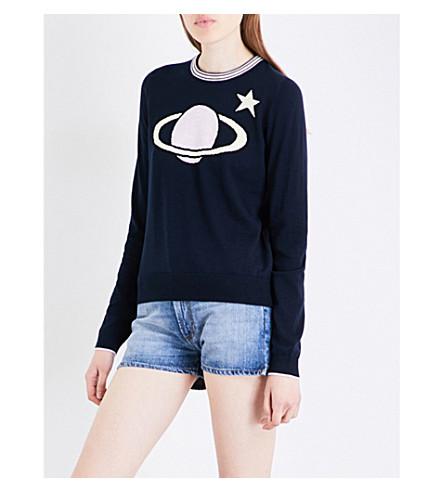 ALEXACHUNG Planet-intarsia cotton and wool-blend jumper (Dark+blue