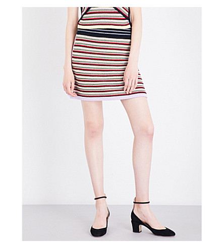 ALEXACHUNG Striped mixed crochet skirt (Multi