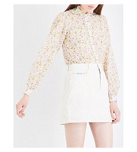 ALEXACHUNG Ruffled collar cotton-voile blouse (Floral+multi