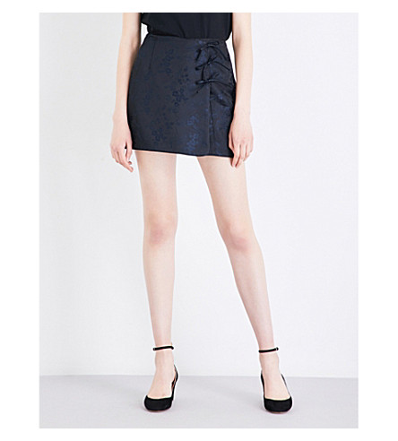ALEXACHUNG Tie-front jacquard cheongasm skirt (Black+navy