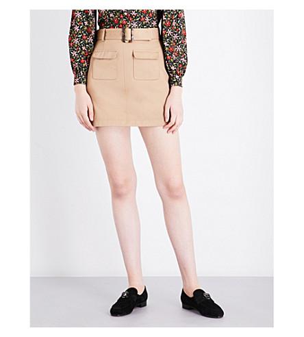 ALEXACHUNG Patch pocket cotton mini skirt (Camel