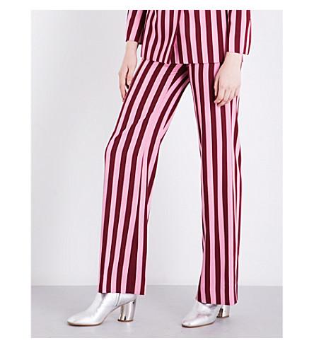 ALEXACHUNG Striped high-rise woven trousers (Burgundy+stripe