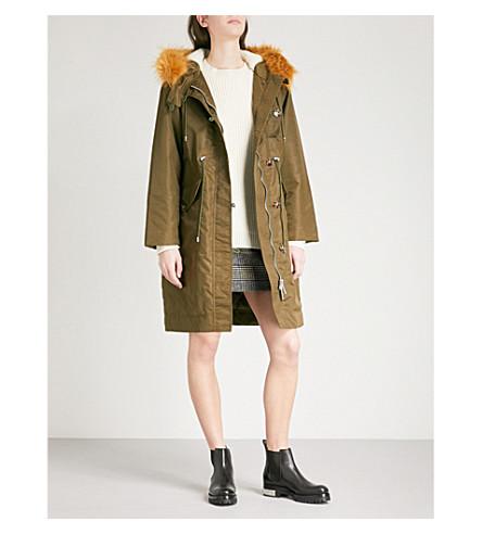 ALEXACHUNG Faux-fur hooded shell parka jacket (Khaki