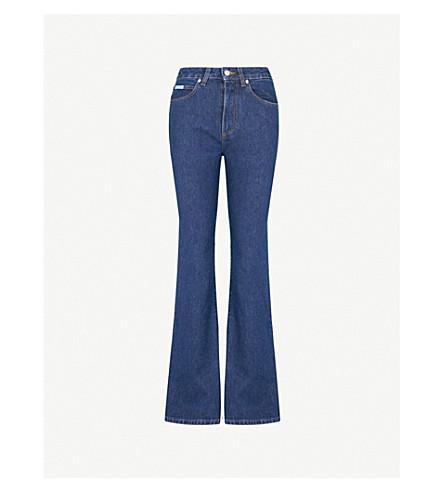 ALEXACHUNG Flared slim-fit high-rise jeans (Deep+blue+wash