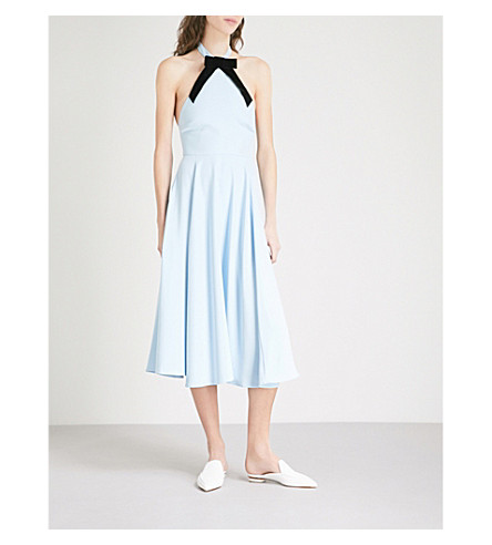 ALEXACHUNG Bow-detail halterneck crepe dress (Pale+blue