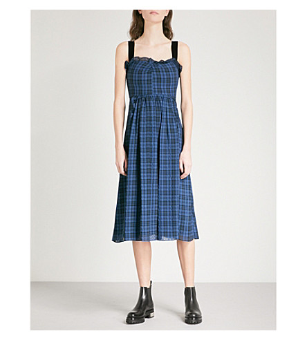 ALEXACHUNG Checked sweetheart shell dress (Black/petrol