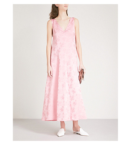 ALEXACHUNG Floral-jacquard dress (Coral+pink