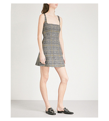 ALEXACHUNG Checked woven dress (Black/grey/yellow