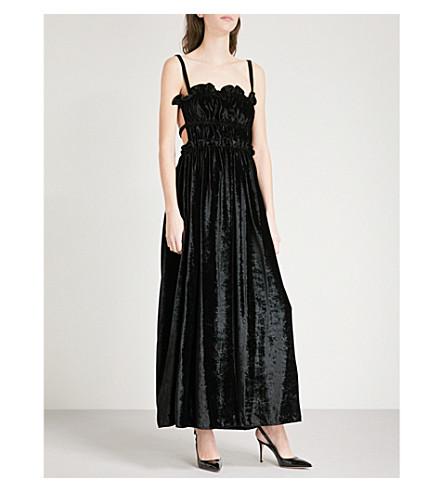 ALEXACHUNG Ruched velvet maxi dress (Black