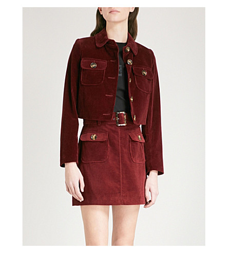 ALEXACHUNG Cropped corduroy jacket (Burgundy