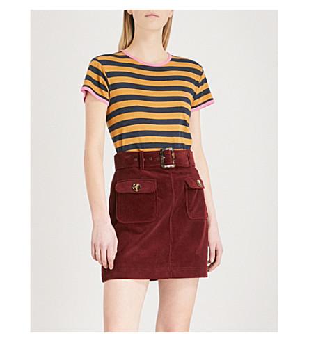 ALEXACHUNG Striped cotton-jersey T-shirt (Ochre/navy