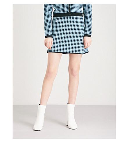 ALEXACHUNG Monogram knitted skirt (Blue/black/mustard