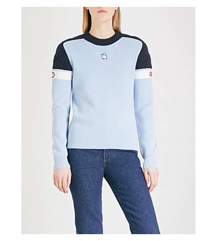 ALEXACHUNG Quilted wool ski jumper (Light+blue/navy/white