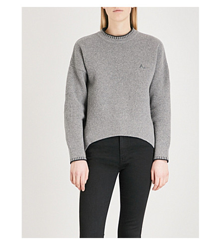 ALEXACHUNG Logo-embroidered wool sweater (Grey melange