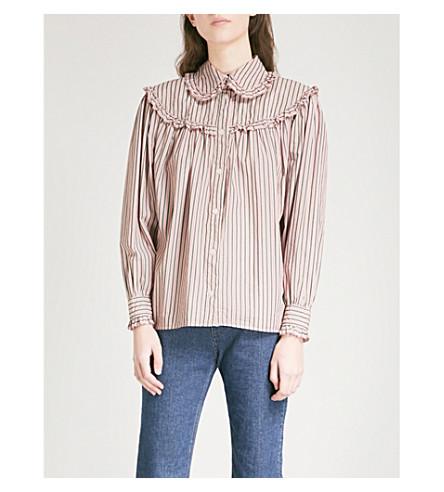 ALEXACHUNG Striped cotton shirt (Pink/khaki/white