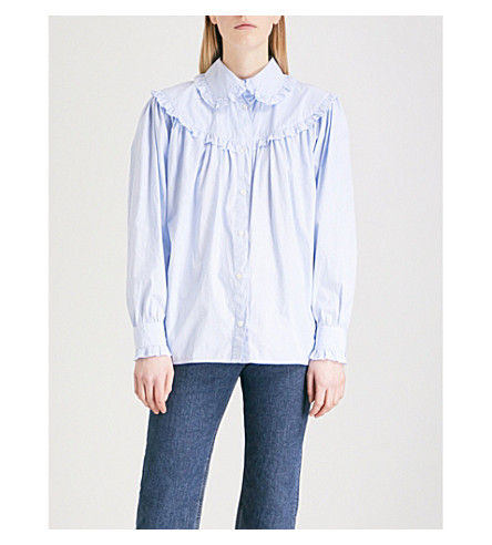 ALEXACHUNG Frilled cotton shirt (Pale+blue/white