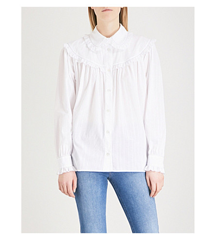 ALEXACHUNG Frilled cotton shirt (White