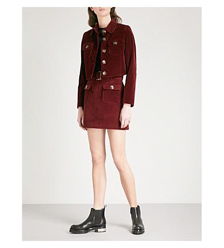 ALEXACHUNG Belted corduroy skirt (Burgundy