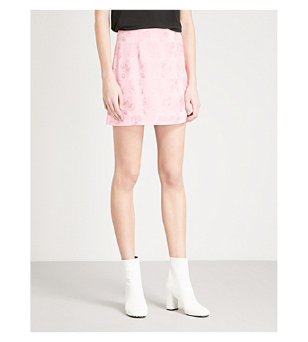 ALEXACHUNG Floral-jacquard mini skirt (Coral+pink