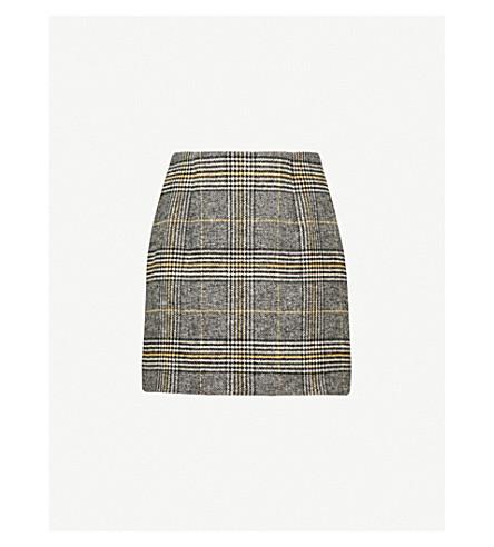 ALEXACHUNG Checked woven mini skirt (Black/grey/yellow