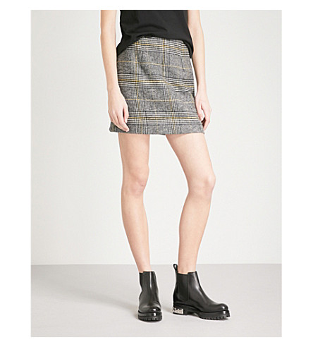 ALEXACHUNG Checked woven mini skirt (Black/grey/yellow