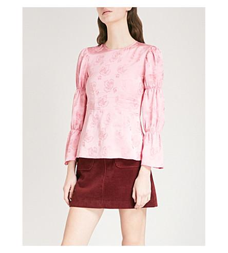 ALEXACHUNG Floral-jacquard blouse (Coral+pink