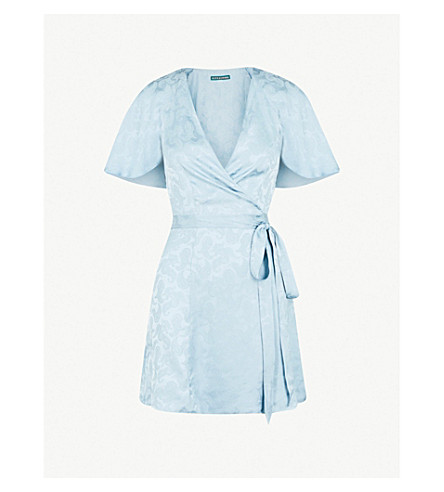 ALEXACHUNG V-neck satin-jacquard wrap dress (Dusky blue
