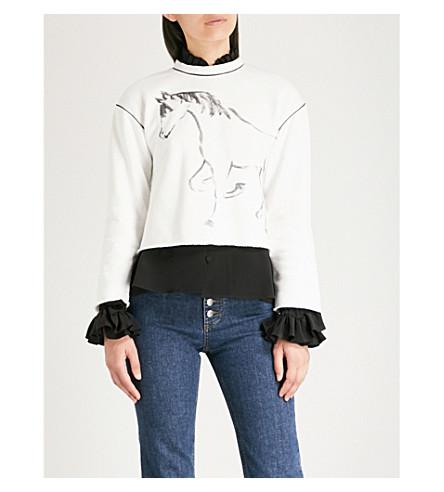 ALEXACHUNG Horse-print cotton sweatshirt (White