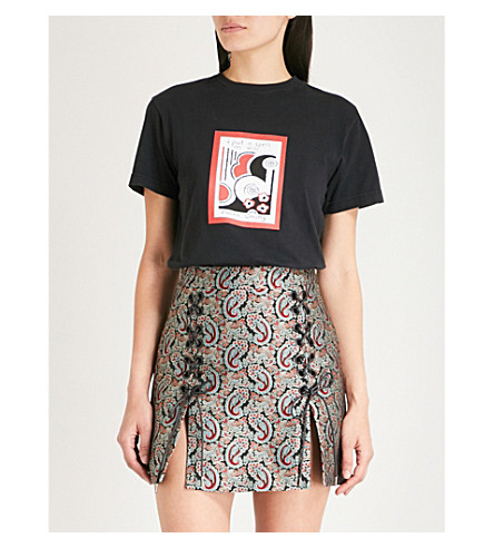 ALEXACHUNG Put A Spell On You cotton-jersey T-shirt (Washed black
