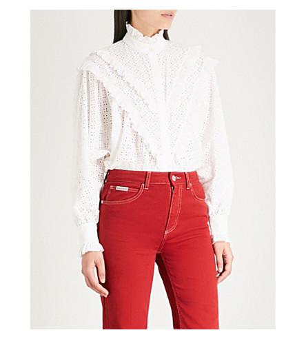 ALEXACHUNG Batwing-sleeve cotton-broderie anglaise blouse (White