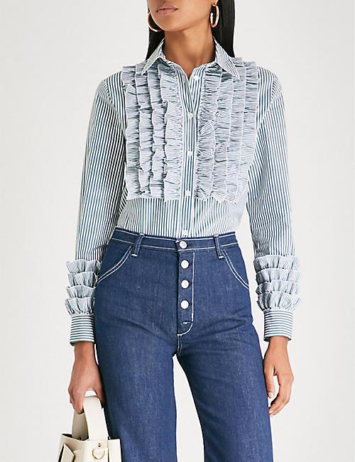 Ruffled striped cotton shirt