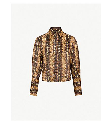 ALEXACHUNG Snakeskin-print satin shirt (Gold