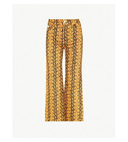 ALEXACHUNG Snakeskin-print high-rise wide-leg jeans (Snake+print+mustard