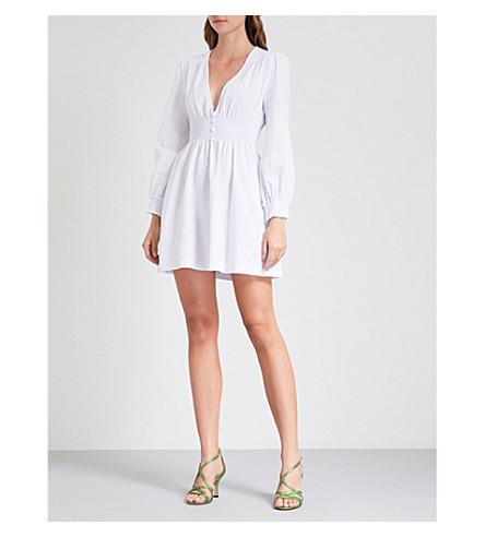 ALEXACHUNG Smocked cotton-seersucker dress (White