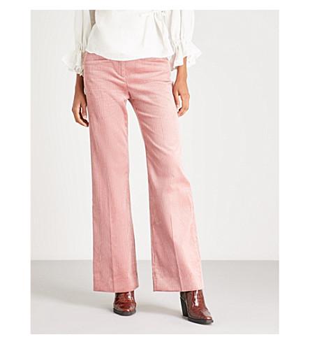 rosa Pantalón de altura de gran pana ALEXACHUNG oscuro ancho vHwqxAAg