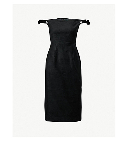ALEXACHUNG Off-the-shoulder cotton-velvet dress (Black