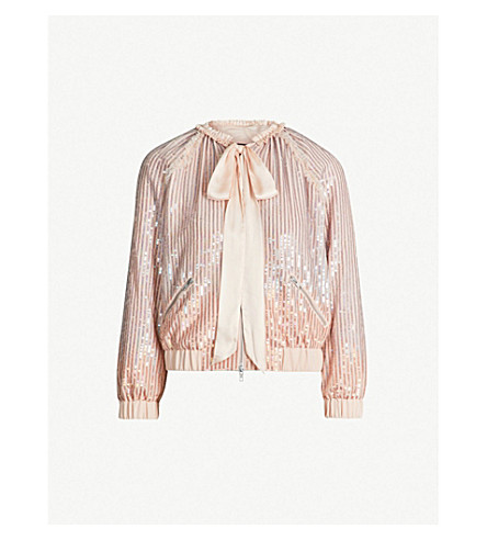 NEEDLE AND THREAD Gloss satin bow-detail sequinned jacket (Dusk blue