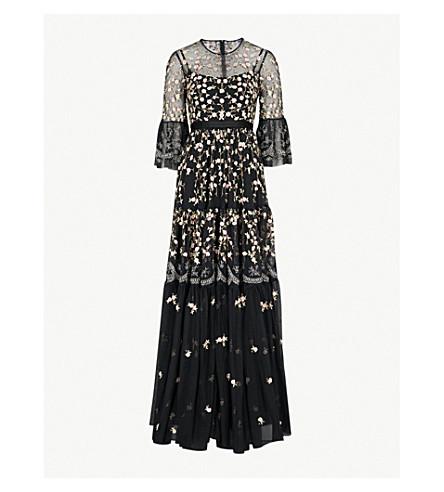 NEEDLE AND THREAD Climbing Blossom embellished tulle maxi dress (Washed+black