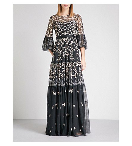 NEEDLE AND THREAD Climbing Blossom embellished tulle maxi dress (Washed+black