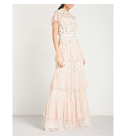 NEEDLE AND THREAD Tiered Anglais embroidered tulle gown (Petal+pink