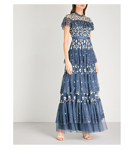 NEEDLE AND THREAD Tiered Anglais embroidered tulle gown (Washed indigo