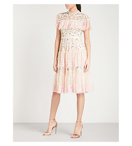 NEEDLE AND THREAD Tiered Anglais embroidered tulle dress (Petal+pink