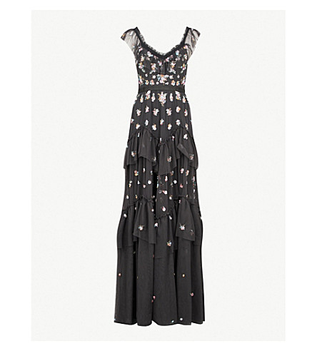 NEEDLE AND THREAD Lustre Cami embroidered chiffon gown (Graphite