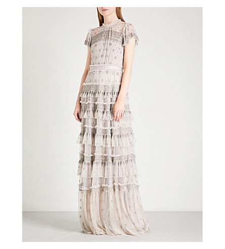 NEEDLE AND THREAD Andromeda embellished tulle gown (Dove